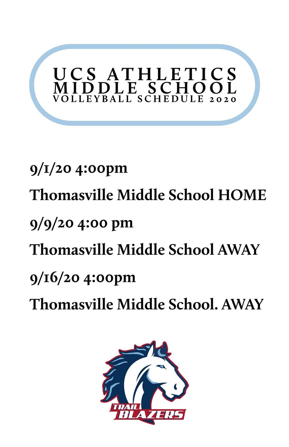 Volley Ball Middle School Schedule